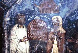 The donors of Agia Anna with the church in their hands, Anisaraki