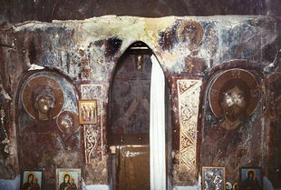 The frescoed stone altar screen of Agia Anna Church, Anisaraki