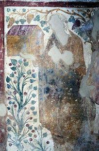 La fresque du commettant (défiguré) de l'église de Sotiras Christos, Sklavopoula