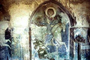 Das Fresko mit dem St. Georg in der Agios Georgios Xifoforos-Kirche, Apodoulou