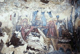 The Nativity fresco in the Panagia, Smiles