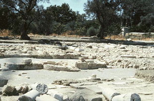 Remains of the rare three-conch basilica, Mitropolis