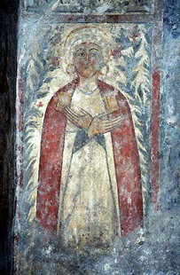 The fresco of the donor (female) in Sotiras Christos Church, Akoumia