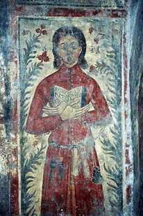 The fresco of the donor (male) in Sotiras Christos Church, Akoumia