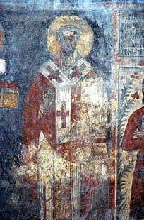 A fresco in Sotiras Christos Church in Akoumia