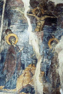 The Crucifixion  fresco in the Panagia Church in Agia Paraskevi