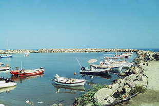 The small sport and fishing harbour in Platanias
