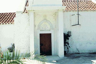 The decorative portal of Agii Apostoli Church in Pirgou Psilonerou
