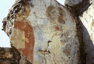Faded frescoes in the ruins of the 15C Byzantine church of Agia Varvara, Latsida