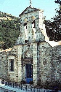 Le portail décoré de l'église d'Agios Ioannis avec les armes des Venieri, Deliana