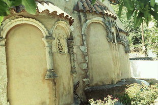 The decorative blind arches at the back of the Panagia Church in Meronas