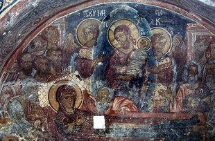 The Dormition of the Virgin Mary fresco in Agios Ioannis Church, Deliana