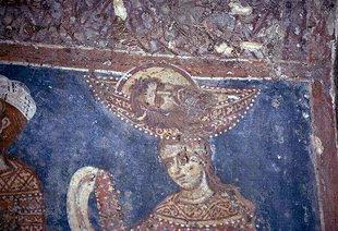Fresko mit dem Kopf Johannes des Täufers auf der Platte, in der Agios Ioannis-Kirche, Deliana