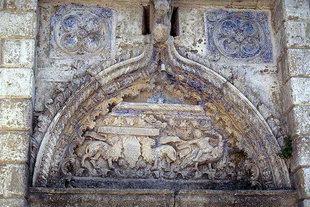 Das Wappen der Venieri am eleganten Portal der Agios Ioannis-Kirche, Deliana