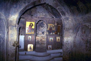 The interior of the small chapel of Agia Marina, Moni Halepa