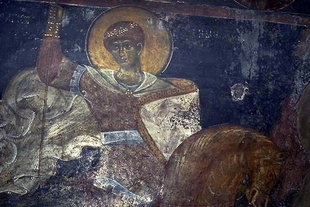 A fresco in the Byzantine church of Agios Ioannis, Anogia