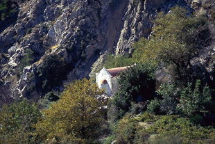 Agia Triada Church in a valley near Males