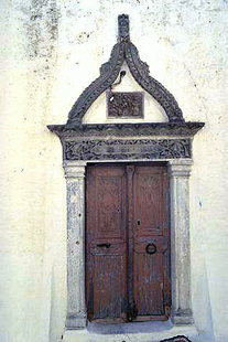 The decorative portal of Agios Antonios Church in Kalamafka