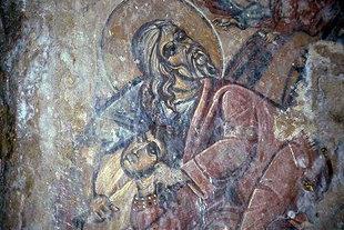 Μια τοιχογραφία στην εκκλησία της Αγίας Ειρήνης στον Κουρνά