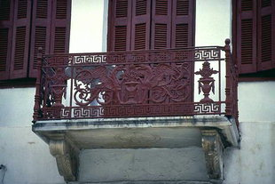 Ornate balcony railings on Arkadiou Street