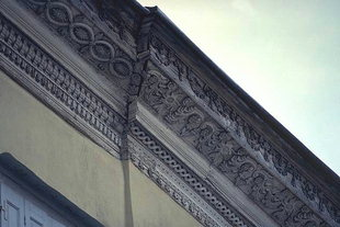 Ornately carved gutter of a Venetian mansion in Rethimnon