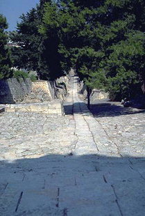 Ancient Minoan paved road from the palace to the town of Knossos