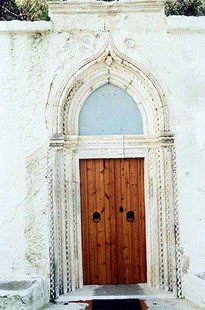 The ornate portal of the church of Agia Moni