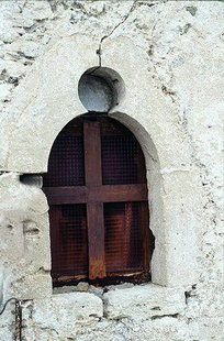A window in the Panagia Church in Kapetaniana