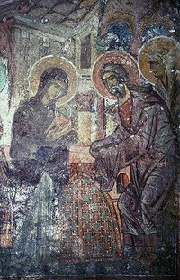 Presentation of Christ in the Temple fresco in Agia Pelagia Church, Ano Viannos