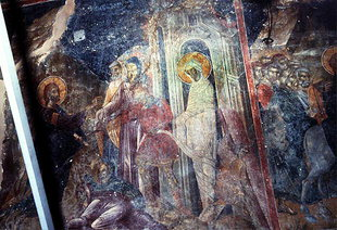 The Raising of Lazarus fresco in Esodia Theotokou in Sklaverohori