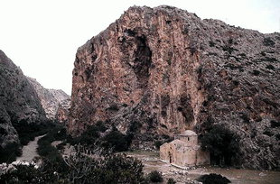 Agios Antonios Church in the gorge of  Agiofarago
