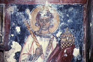 A fresco in Agios Ioannis Theologos Church in Seli