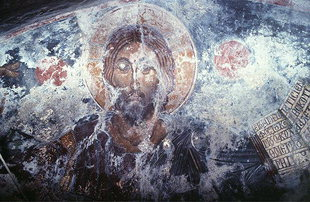 The Pantocrator fresco in Agios Ioannis Theologos Church in Seli
