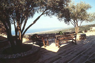 A pleasant courtyard in Agia Irini Monastery overlooking Rethimnon