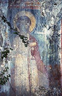 Μια τοιχογραφία στην εκκλησία του Αγίου Γεωργίου στο Φαράγγι της Αγίας Ειρήνης