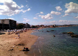 The beach of Chania in Nea Hora