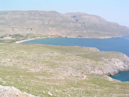 The beach area in front of the archaeological site, Kato Zakros