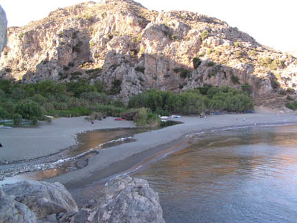 The Preveli beach at the end of the Kourtaliotiko Gorge