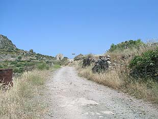 The road towards the ancient acropolis of Polirinia
