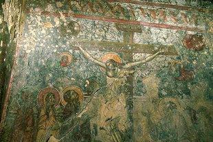 Une fresque dans l'église Byzantine d'Agios Ioannis à Kato Varsamonero