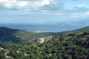 Mirabelo Bay and the city of Agios Nikolaos from the ancient site of Lato