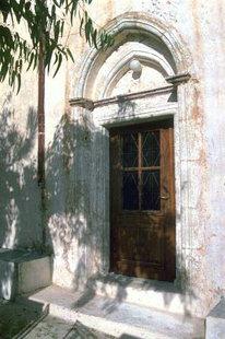 Le portail de l'église de la Panagia, Agios Georgios et Agios Ioannis, Epano Episkopi