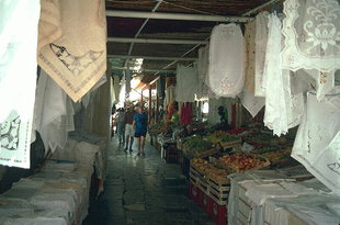 The bazaar atmosphere of the market in Matala