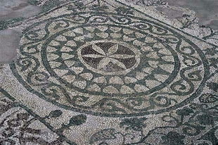 Mosaic floor in the basilica of Elounda