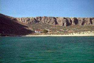 La zone de l'ancrage à Gramvousa