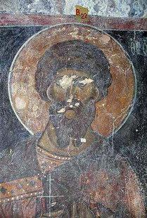 A fresco by Ioannis Pagomenos in Agios Nikolaos, Maza