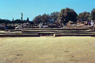 The Monumental Staircase and left the Kernos in the Paved Terrace, Malia