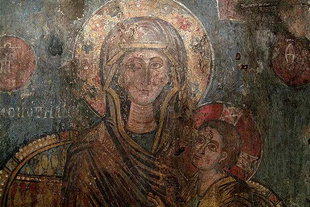 A 13C fresco by Ioannis Pagomenos in the Panagia Church, Alikambos