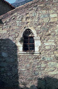 The decorative window in Agios Fanourios Church, Moni Varsamonero