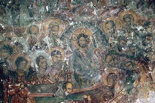 Η τοιχογραφία της Κοιμήσεως της Θεοτόκου στην εκκλησία του Μιχαήλ Αρχάγγελου στο Μοναστηράκι